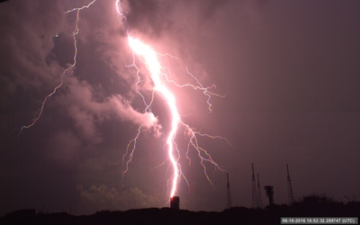 Negative cloud-to-ground lightning strike at Atlas Launch Complex 41, Kennedy Space Center.